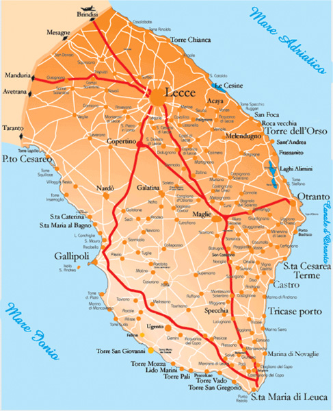 Mappa del Salento / Map of Salento