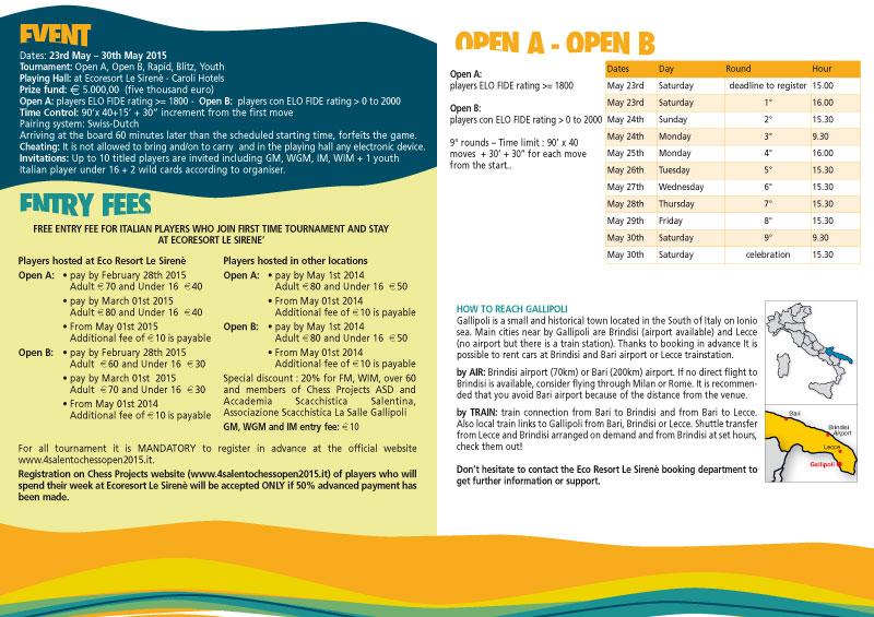 Schedule | 4° SALENTO CHESS OPEN 2015